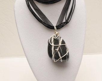 Beautiful Zebra-Striped Beach Pebble Necklace