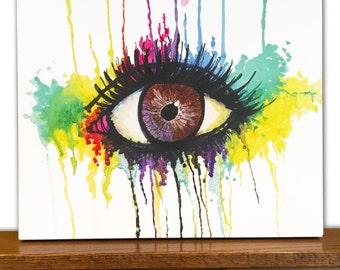 Watercolor Canvas Art - Watercolor Wall Art - Home Decor - Watercolor Eye - Drawing - Markers - Watercolor Painting