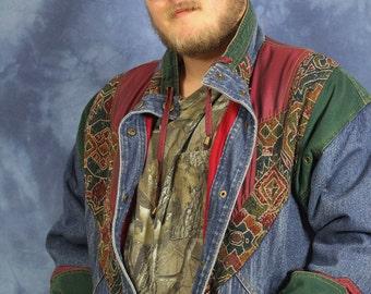 Vintage 90s Denim Jacket // Jean Jacket // Tapestry // Color Block // Hip hop