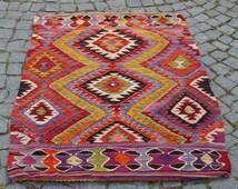 Turkish kilim Rug,Decorative Rug,Small Rug,Handmade Rug,Home Decor Vintage Rug,Bohemian Rug,50x37 inches,126x95 cm