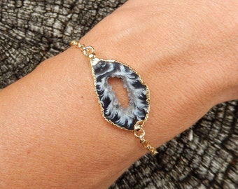 Geode Slice Bracelet 14K Gold Agate Freeform Druzy Crystal Quartz Rock Agate Boho Black White Gold Filled Chain Free Shipping Jewelry