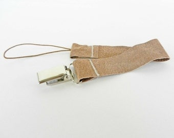 Cream Leather baby soother clip,  leather paci clip,  pacifier clip,  baby shower gift