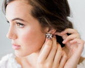 EVANGELINE glamorous statement stud wedding earrings, glam petite crystal art deco bridal earrings, bohemian bridesmaid gift