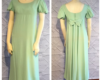 Vintage 1960's Dress Green Emma Domb of California Empire Waist Crepe Gown