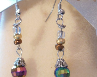 Mulitcolored dangle hand designed beaded earrings