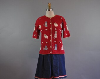 Upcycled Refashioned Handmade Novelty Drop Waist Dress. 1960's Mod style. Cat Pattern Dress. Denim Skirt.