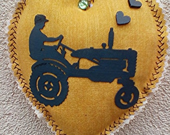 material heart with vintage tractor