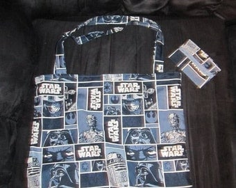 Star Wars Blue Tote Bag and Tissue Cover Set