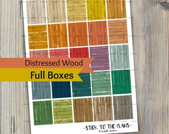 Distressed Wood printable planner stickers Erin Condren planner printable stickers colorful distressed wood full boxes rainbow basic kit