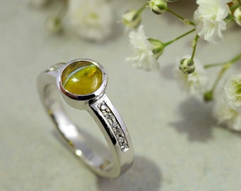 Natural Cats Eye Ring in Platinum - Engagement Ring - Anniversary Ring - Handmade - London Hallmarked - Ready to Ship - FREE SHIPPING
