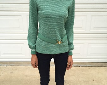 Green Striped Turtle Neck Top