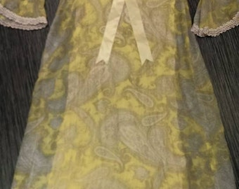 Vintage 1960's 1970's Long Maxi Dress Handmade Yellow Grey Paisley Fully Lined