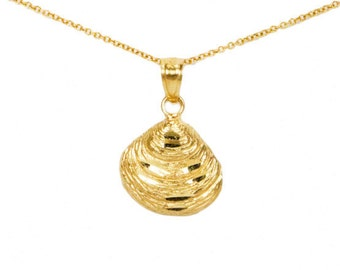 10k Yellow Gold Clam Shell Necklace