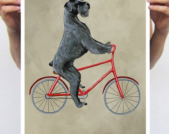 Schnauzer painting, print from original painting by Coco de Paris: Schnauzer on bicycle