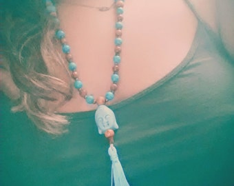 Traditional 108 bead Mala with Turquoise Buddha