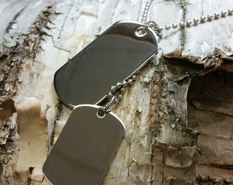 Stainless steel Personalized double dog tag pendant for men with chain (engraving available)