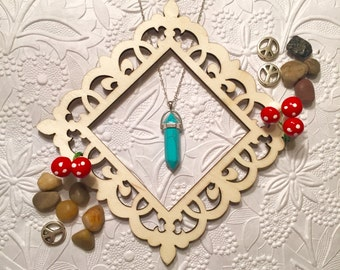 Turquoise Stone Crystal Necklace - Silver/Gold