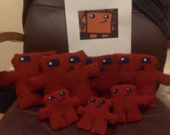 Super Meat Boy hand-knitted plush.