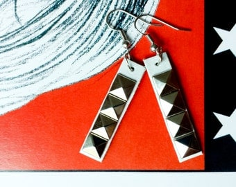 White Stud Earrings // Silver Studs // Upcycled // Pyramid Studs // Grunge Punk // DIY