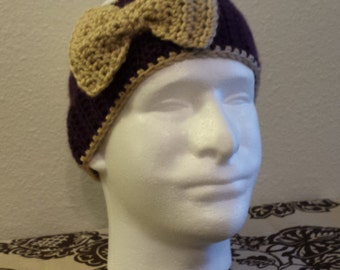 Womans Crochet Bow purple/tan Ear warmer.