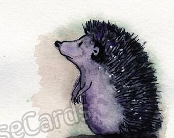 Hand-Painted Greetings Card- Hoggie