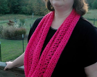Lacy Crochet Infinity Scarf - Pink