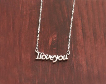 I Love you Necklace, Love Letter Necklace, Propose Necklace, Gift for girlfriend, Necklace for girlfriend, Anniversary Gift, Dainty Necklace