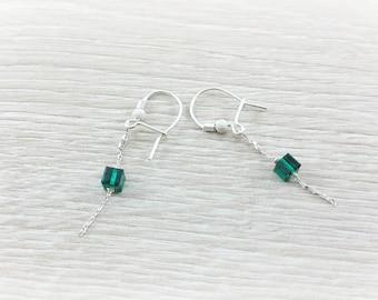 Drop Earring silver , emerald green