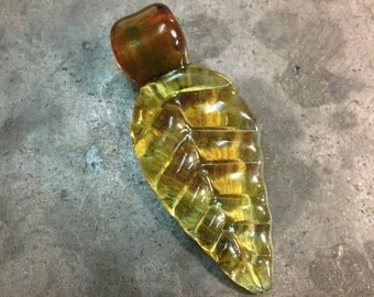 Green Glass Leaf Pendant