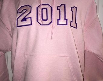 2011 Embroidered/Tackle Twill  hoodie in pink and purple
