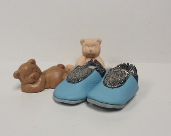 Handmade baby booties blue with glitter