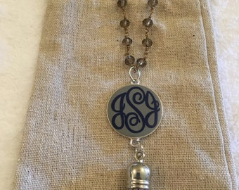 Long monogrammed disc tassel necklace