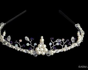 Purple Crystal & Pearl Tiara
