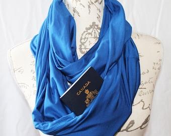 Passport Scarf/ Cobalt Blue Infinity Scarf with Hidden Zipper Pocket / Travel scarf / Passport Scarf / Bridesmaid Gift / Graduation Gift