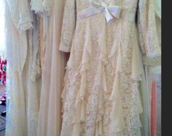 Cream Ruffle & Lace dress
