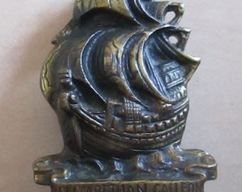 Vintage Brass Door Knocker Elizabethan Galleon Ship
