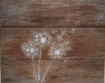 Dandelion Painting on Reclaimed Wood