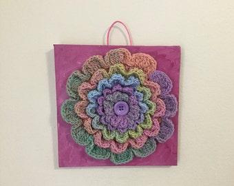 """Original art work, Wall art, crochet wall hanging, flower on canvas, crochet wall Decor, wall art, nursery decor, 8""""x8"""" canvas"""