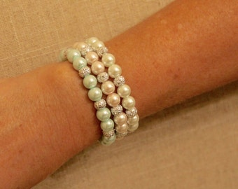 Pearl Bracelets- Mint/Pink/White