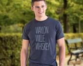 Waylon, Willie, Whiskey - Hipster Unisex Tee