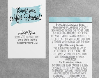 Rodan and Fields Mini Facial Instruction Card (Business Card Size)