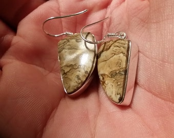 Picture Jasper Sterling Silver Earrings