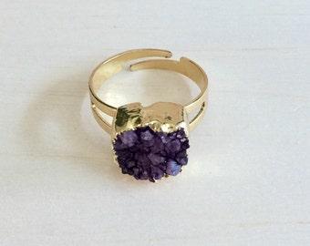 Purple Crystal Druzy Ring, Raw Crystal Ring,  Crystal Ring, Natural Druzy Stone Ring, Crystal Jewellery