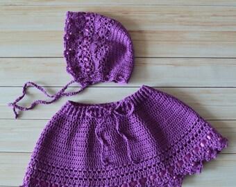 Newborn photoprop set: bonnet&skirt