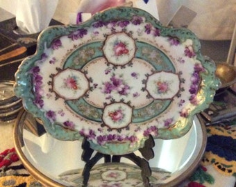 Hand painted tray, dresser tray, floral tray