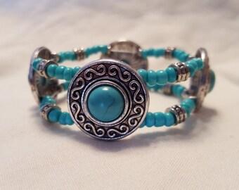 Turquoise and Silver Slider Bracelet