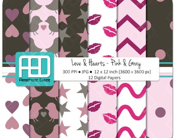 Love, hearts, kisses, polka, valentine digital paper, scrapbook paper, 12x12 inch, 300 DPI, pink, gray, commercial use - Instant Download