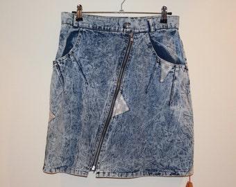 Reaction Acid Wash Denim Skirt