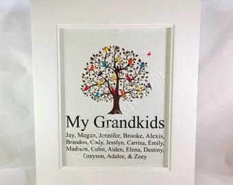 Grandkids Family Tree-Family Tree-Birds in a Tree-Custom Family Tree-Personalized Grandkids Family Tree-Grandchildren Family Tree