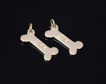 Personalized Dog Bone Charm, Gold or Silver Dog Bone, Pet Jewelry, Dog Name, Small Dog Bone, Animal Lover Jewelry, Dog Memorial Gift